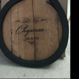 bourbon barrel head personalized wedding guest book. Black Bedroom Furniture Sets. Home Design Ideas