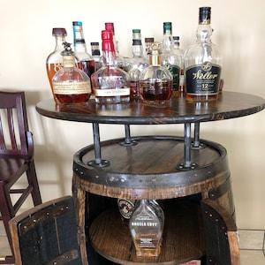 Whiskey Barrel Liquor Cabinet W Lazy Susan Amp Built In Wine