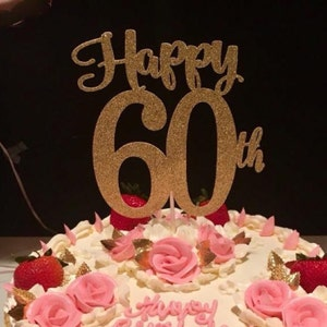 60th Birthday Cake Topper Happy 60th Cake Topper 60th