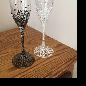 Wedding Glasses Personalized Champagne Glasses Black White
