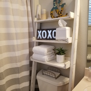 Over The Toilet Ladder Shelf Choose Color Stain Paint Space