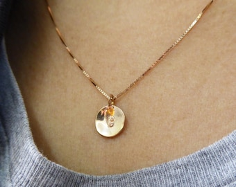Tiny 14k gold necklace 2 initials pendant letter charm tiny 14k gold initial necklace initial pendant letter charm necklace bridesmaid gift aloadofball Choice Image