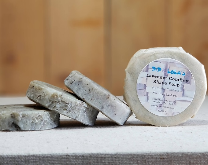 Lavender Comfrey Shave Soap -- All Natural, Handmade, Man-friendly, Shave Soap, Vegan, Barely-Scented, Free Shipping