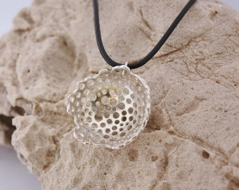 STERLING SILVER PENDANT. Silver Necklace. Organic Textured Necklace. Original Pendant. Textured Pendant. Jewelry Design