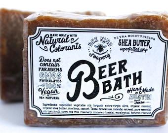 Beer bath bar soap | colloidal oats | patchouli clove cinnamon cedar wood benzoin | essential oils | natural | organic | Bee Kind Soapery