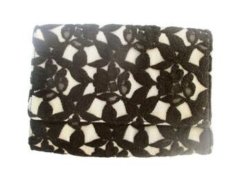 Vintage Clutch Lace Clutch Wedding Bag Wedding Purse Black Lace Purse Vintage Lace Bag Black White Bag Neiman Marcus Clutch