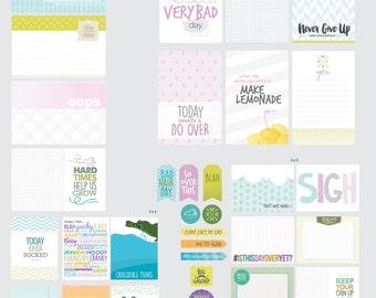 Digital Scrapbook Cards / Scrapbook Card Printable / Project Life / Journal Card / Hard Day Theme