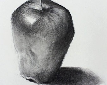 Apple #5 (Original charcoal drawing from life)