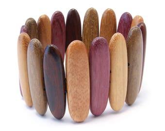 TICA SURF Unique exotic wood bracelet - Tribal Long Bars M - EE1716