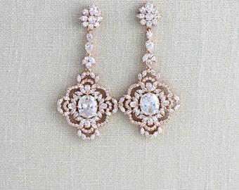 Long Rose Gold earrings, Crystal Bridal earrings, Bridal jewelry, Rose Gold Chandelier earrings Statement earrings Swarovski crystal MADISON