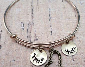 Bangle Bracelet - Personalized Mom Grandma Bangle - Love Heart Gold Personalized Names Initials - Personalized Adjustable Brass Bangle -B-22