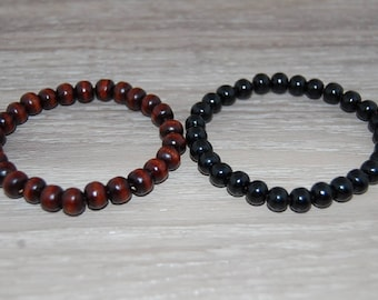 Set 2 x Bracelets,Wood Bracelets,Black,Brown,Wood 8mm Beads,Stretch,Prayer Bracelet,Man,Woman,Lucky,Pray,Yoga,Protection,Meditation