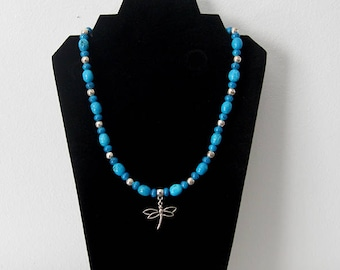 Blue Stone and Silver Necklace and Earring Set, Medium Blue and Silver Necklace, Dragonfly Necklace