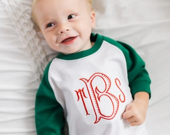 Baby Boy Christmas Outfit, Monogrammed Boys Christmas Romper, Personalized Christmas clothing, Monogram Baby Girl Christmas outfit,