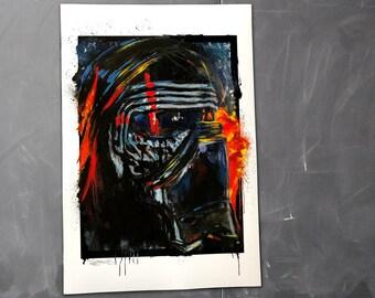Kylo Ren, Star Wars, Art Print by Cole Brenner, gift for geeks, nerds, Dark Side, Force Awakens, Movie Poster