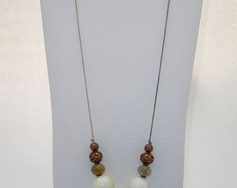 White Stone Necklace with Copper Beads