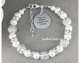 Gift for Mother First my Mother Forever my Friend Charm Bracelet Mother of Bride Gift from Daughter Jewelry Gift Idea for Mom Jewelry