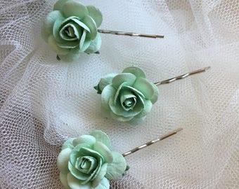 Bridal hair pin, rose hair pin, mint green, flower hair clip, wedding hair accessories, flower bobby pin, bridesmaid, rose bobby pin