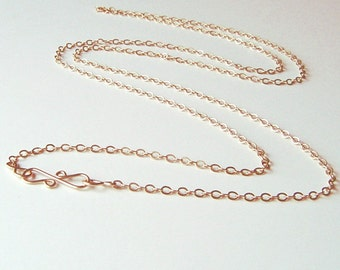 Long Rose Gold Chain Necklace, 14K Rose Gold fill, Layering, Choose length up to 24 inches, pendant chain, Gift