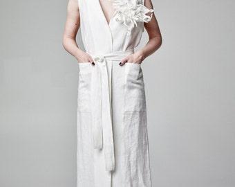 White Linen Coat, Vest Coat, Long Coat, Dress Coat, Plus Size Coat, Maxi Coat, Long Vest, Women Coat, Linen Vest, Maxi Vest, Sleeveless Coat