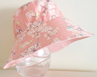 Girls hat in sweet cherry blossom fabric- summer hat, bucket hat