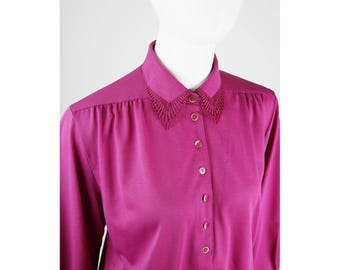 Vintage jersey blouse in pink with crochet lace