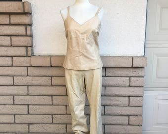 Vintage Leather Pantsuit Leather Spaghetti Strap Top & Leather Pants Margaret Godfrey Size Large