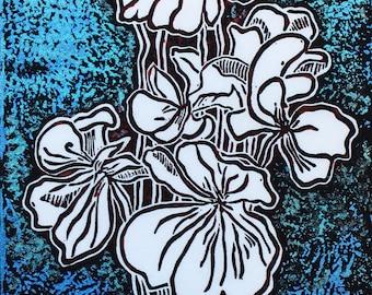 "Unique Linocut overprint on mulberry paper, 13"" x 5 1/2"", hand printed original: Bloom Magic"