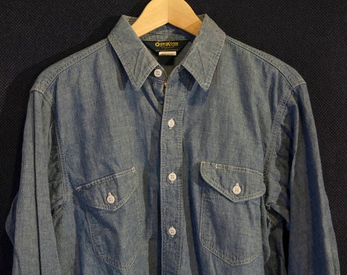 Vintage Osh Kosh B'Gosh 100% Cotton Chambray Workshirt with Acorn Pockets and Pen Holder Size Large Stellar Condition!