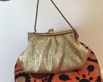 Vintage glam gold tone hand bag. Handmade.