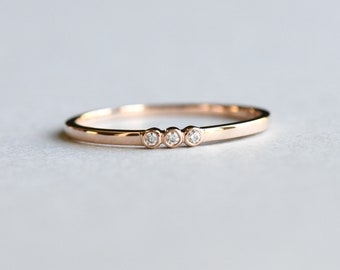 9k Rose Gold Trio Bezel Dainty Ring, Stackable Ring, Rose and Choc Ring, Thin Ring, Minimalist Ring, Solid 9k Gold, Bezel Ring, Wedding Ring