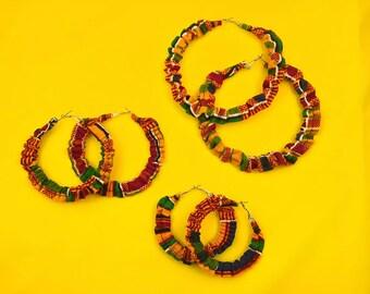Hoop Earrings, Unique Earrings, African Jewelry, Handmade Earrings, Big Earrings, African Earrings, Eco-Friendly Jewelry