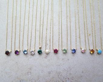 Dainty gold birthstone necklace / Gold single birthstone necklace / Tiny diamond necklace / Swarovski stone necklace/Delicate stone necklace