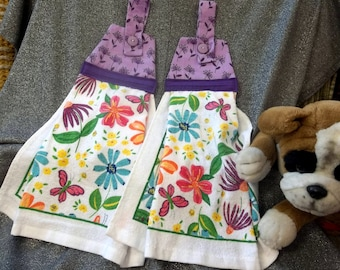Hanging Printed Kitchen Button Towels, Flowers Light Purple Top