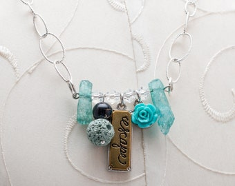 Escape Crystal Lava Bead Oil Diffuser Necklace