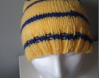 Man's yellow and blue striped hat