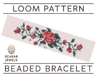 Vintage Rose Stitch Pattern | Loom Beading Bracelet | Cuff Bead Pattern | Miyuki Delica | PDF Instant Download