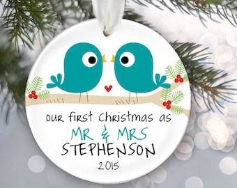 Our First Christmas as Mr & Mrs Personalized Christmas Ornament Bridal Shower Gift Love Birds Christmas Ornament Custom Lovebirds Gift OR342