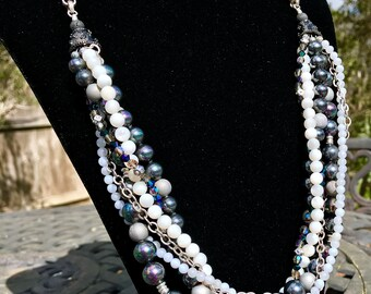 Mother of Pearl, Shell Pearl & Crystal Braided Necklace