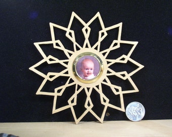 Wooden Snowflake photo holder