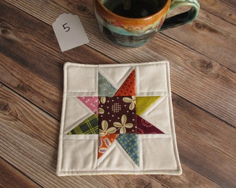 Mug Rug Fabric Coaster Quilted Coasters Teacher Gifts Coworker Gifts Farmhouse Style Denyse Schmidt Mini Quilt Vintage Style Patchwork