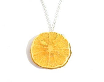 Glitter Lemon Necklace, fruit necklace, fruit jewelry
