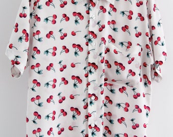 O'Carioca Cherries Short Sleeve Button Up Shirt with a relaxed fit.