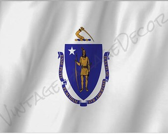 Massachusetts State Flag on a Metal Sign