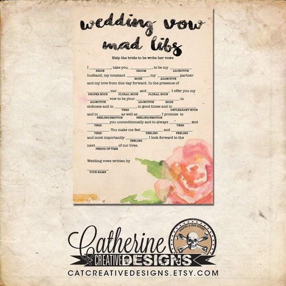 Wedding Vow Mad Libs Printable: Bridal Shower Wedding Vow Mad Libs Bride Edition Rustic