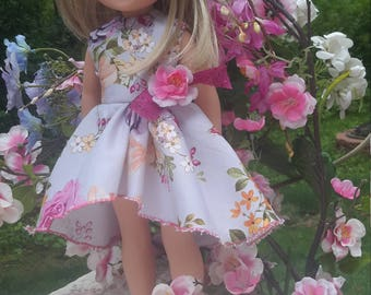 wellie wishers doll clothes, fancy asymmetrical dress, 14.5 in American dolls, girl dolls 14, 18 in sister set rose floral