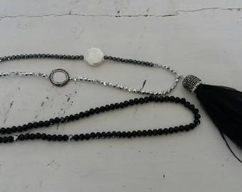 Silver and black luccicosa necklace with tassel