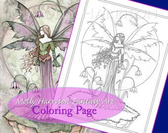 Tranquil Moon - Coloring Page - Printable - Fantasy Fairy Art - Molly Harrison Fantasy Art - Digistamp - Digi Stamp, fairies, faery