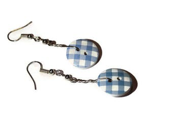 Blue and white button Plaid tie American Silver earrings