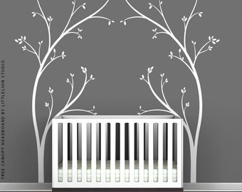 White Tree Canopy Bed Headboard Wall Decal by LittleLion Studio